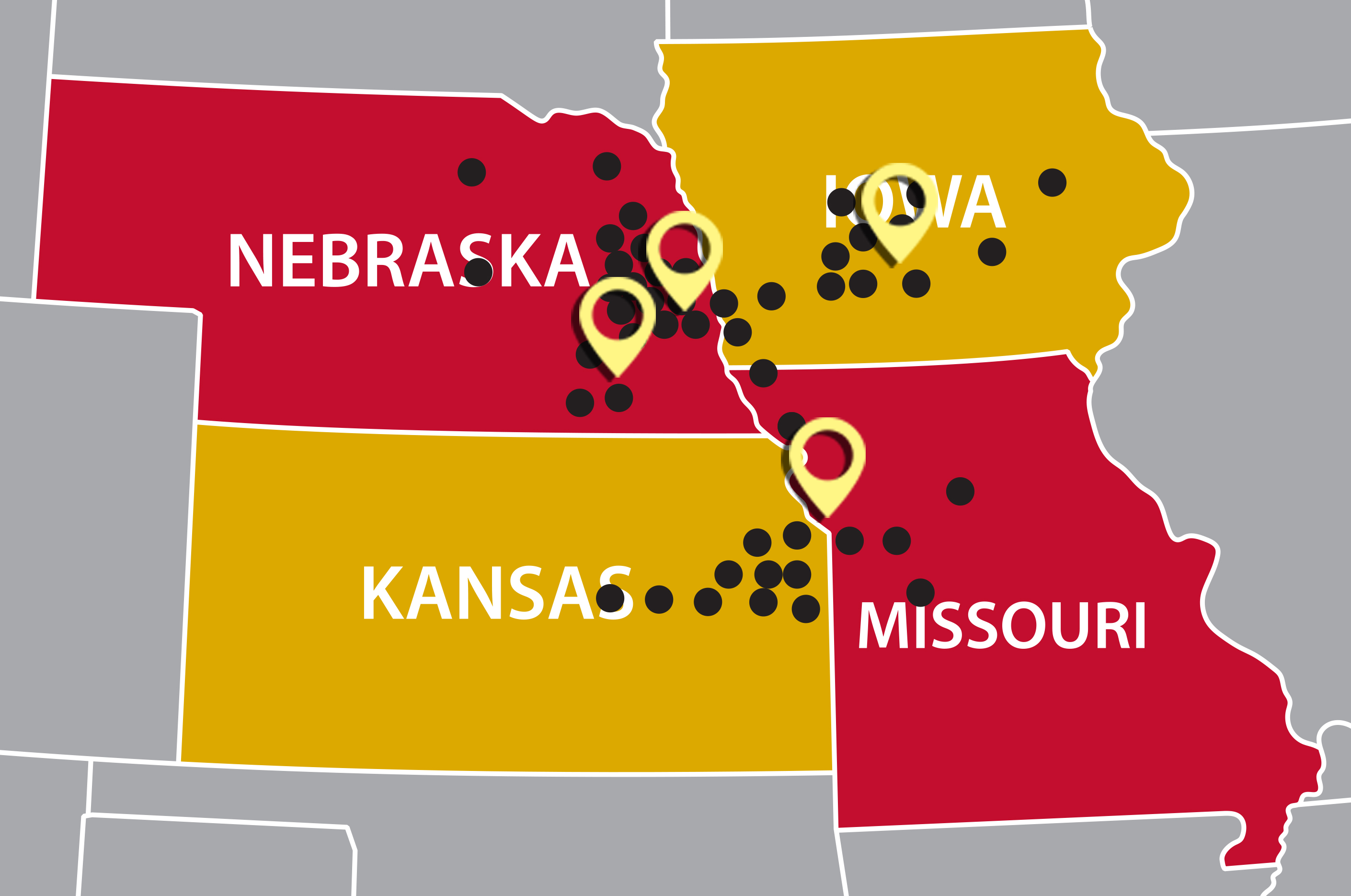 Markets we serve dot map